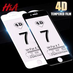 H & A 4D Courbe En Verre Trempé Pour iPhone 7 8 6 6 s Plus Complet couverture de Protecteur D'écran Pour iPhone 6 6 s 7 8 Plus De Protection En Verre Film