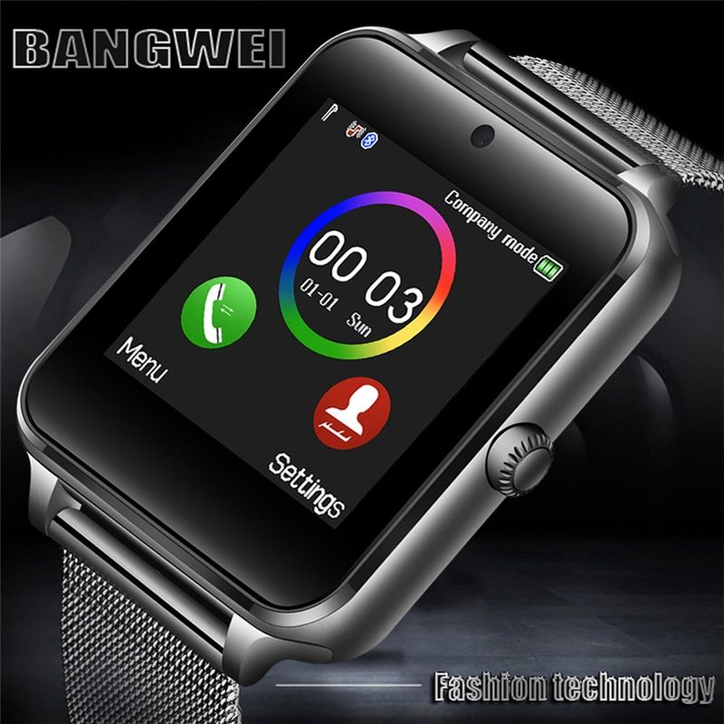 2018 New Men Women Sport Smart Watch Bluetooth Music Player Supports SIM Card Android Mobile Stainless Steel Watch smartwatch