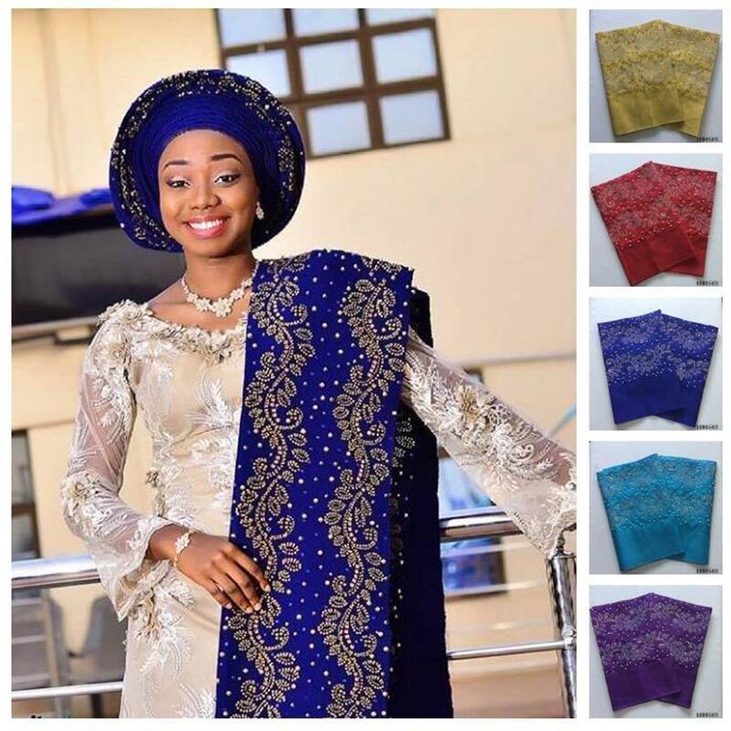 African Aso Oke Headtie Length 2M Aso Oke Headtie Beads And Stones Headtie African Scraf Wrapper Aso Ebi Hot Sale 40
