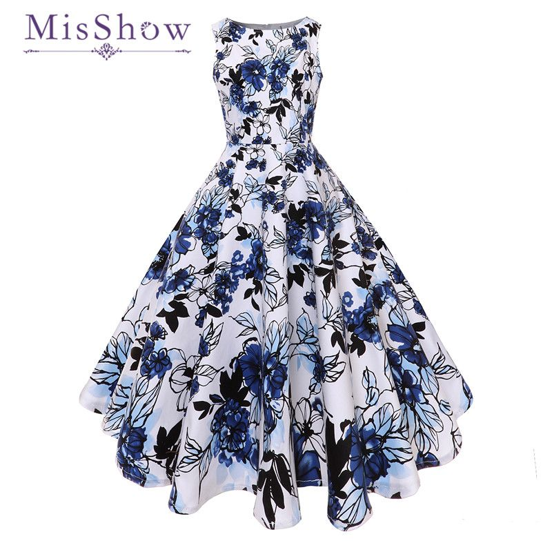 MisShow 2018 New White And Blue Elegant Floral Print Ball Gown Sheath Slash Neck Vintage Dress Sexy Sleeveless Party Dress Retro