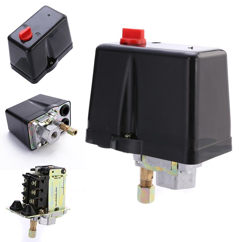 3-Phase 230V 400V 16A Pressure Switch For Compressor Air Compressors Switch Control 90-120 PSI Home Tools
