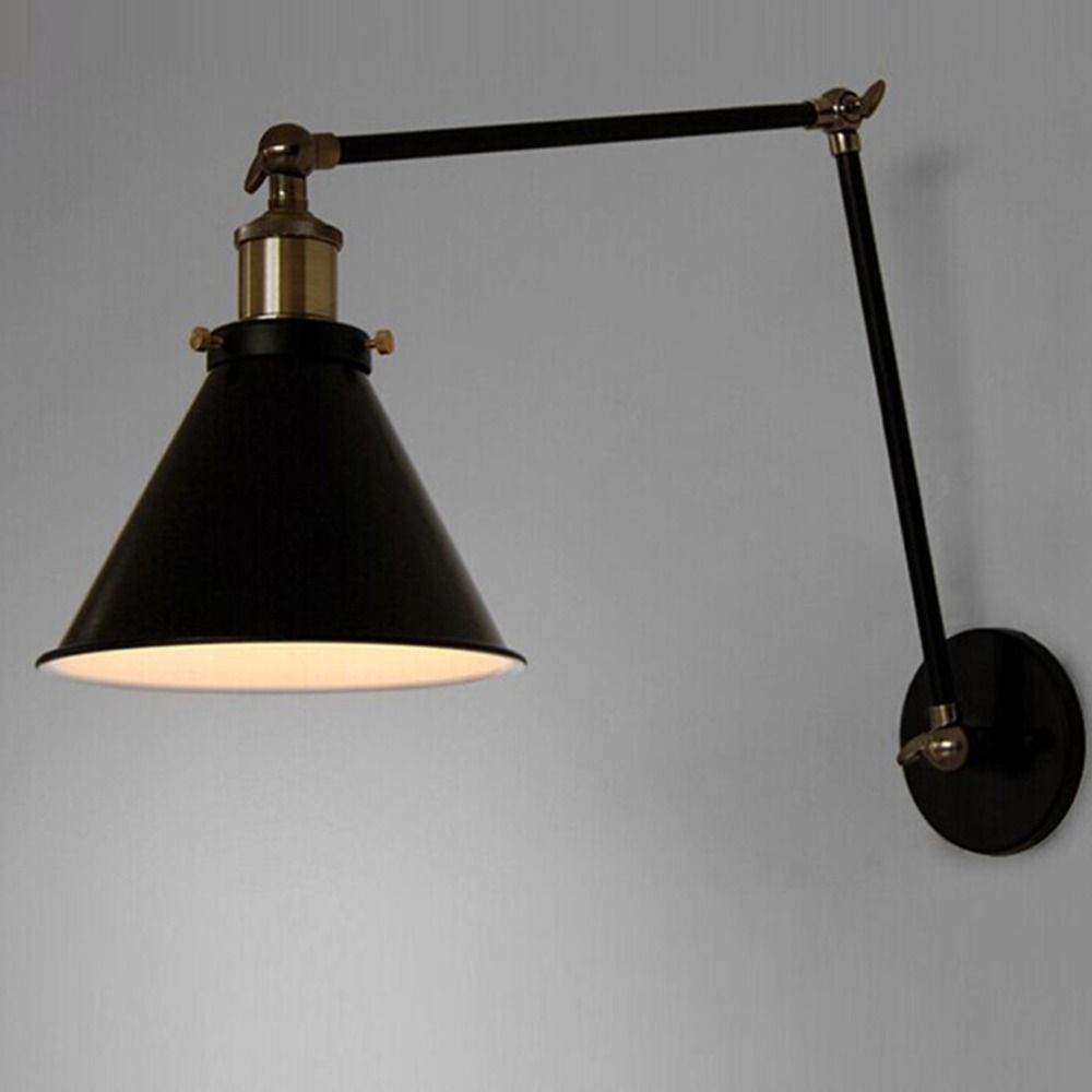 E27 Vintage Industrial Wall Lamp Loft Creative Swing Arm Sconce Balcony Stair Porch Restaurant Bar Bedroom Wall Light Home Light