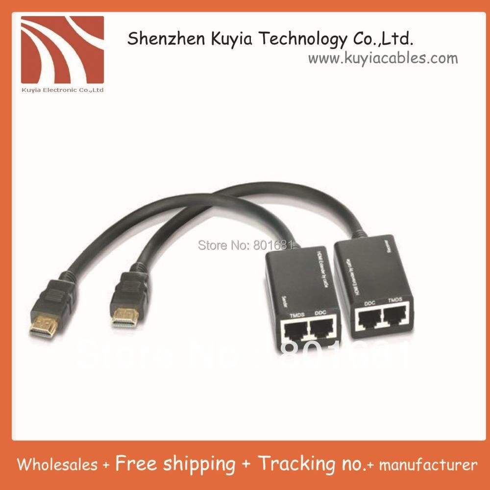 5pcs/lot!!!Free shipping+HDMI Extender Extension 30M 100ft 1080P HDMI to RJ45 / Cat5e Cat6 Cable Network HDTV Adapter