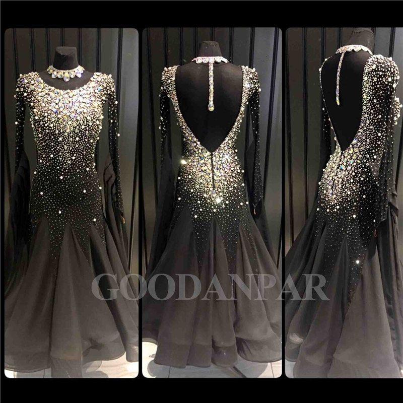 Ballsaal Tanzen Kleid Neueste Design Frau Moderne Walzer Tango Dance Kleid standard sexy kleid schwarz Langarm spandex
