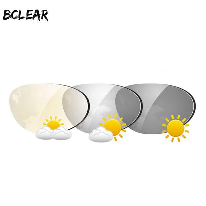 BCLEAR 1.61 Indice Asphérique Photochromique Transitions Lentilles Lentille des Lunettes De Soleil avec Unique vision lentille Caméléon Gris Brun Myopie