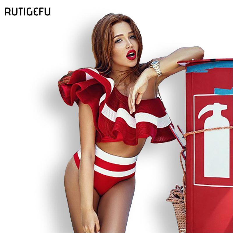 Rutigefu новые пикантные летние женские жатый платье купальник высокой талии купальник дамы ретро Купальники для малышек бразильский пляж дно ...