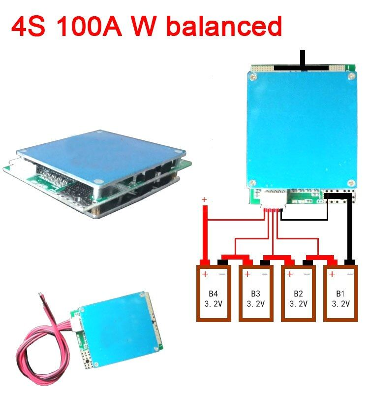 4 4S handy 12 V 100A Lifepo4 lithium-eisen phosphat BMS batterie schutz bord w balance Hohe Strom F/ UPS Auto starten Inverter