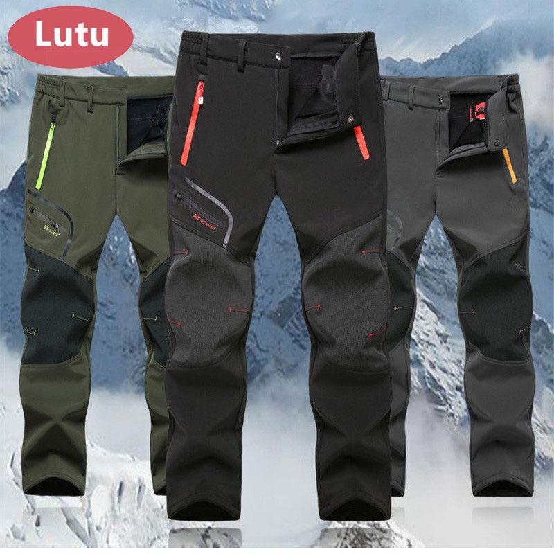 LUTU Fleece hiking pants men Autumn Softshell pants outdoor trousers women waterproof thremal mountain trekking ski pant