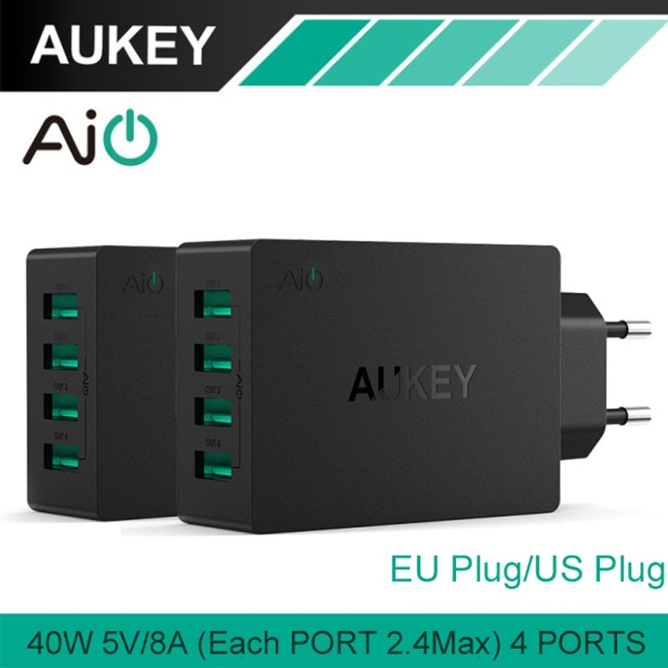 AUKEY USB Charger 40W/8A Travel Wall Charger Adapter with <font><b>Foldable</b></font> Plug for iPhone 8 7 Plus 6 Samsung Note7 HTC LG Charger EU/US
