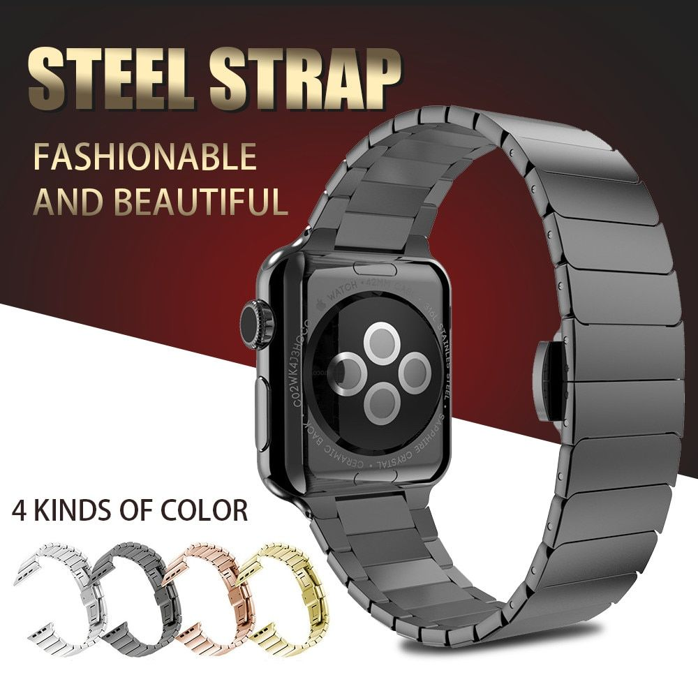 Stainless Steel Bracelet for Apple Watch band Butterfly Buckle Metal Strap 38mm/42mm Metal Link Strap for iwatch Series 3 2 1