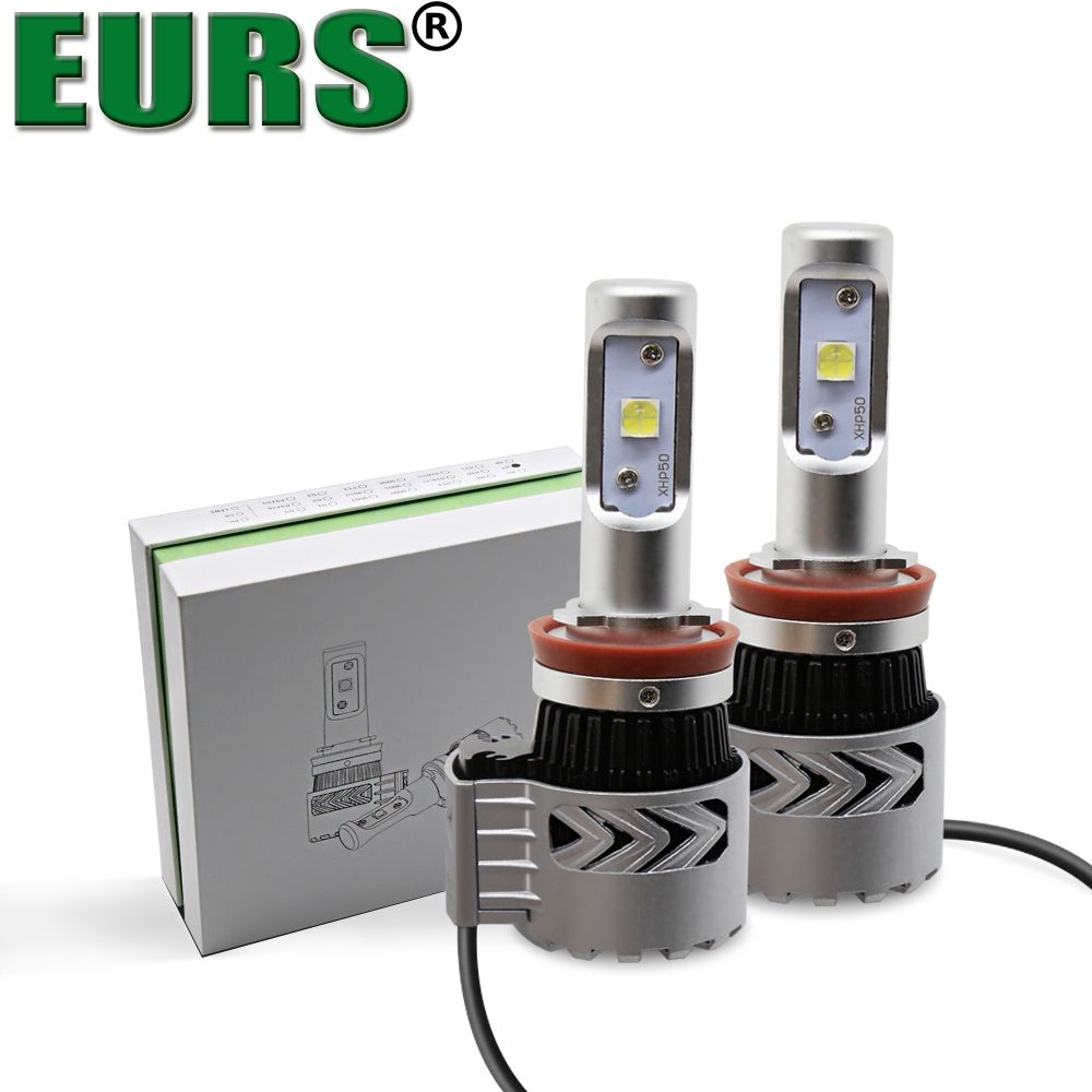 EURS(TM) 2PCS popular universal automobile hid conversion kits waterproof IP68 6500k led H7 XHP50 H1 H4 H11 72W G8 headlights