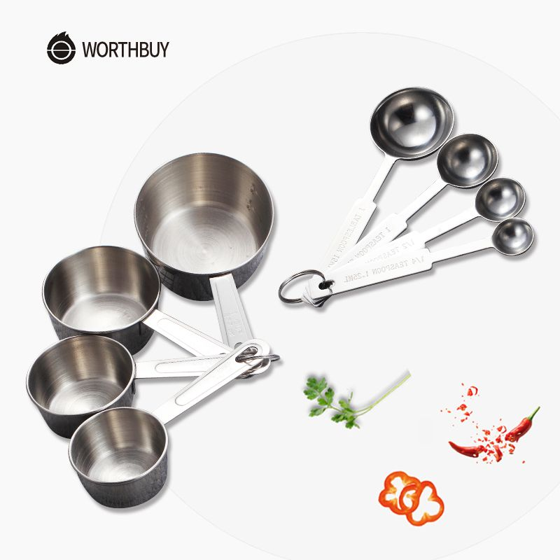 WORTHBUY Stainless Steel Measuring Cup Kitchen Measuring Spoon Scoop For Baking Tea Coffee Kichen Accessories Measuring Tool Set