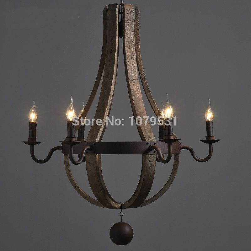European Brief Vintage Wood Pendant Lamp Bar Restaurant Wood Bucket Hanglamp Village Industrial Oak Barrels Six Arms Chandelier
