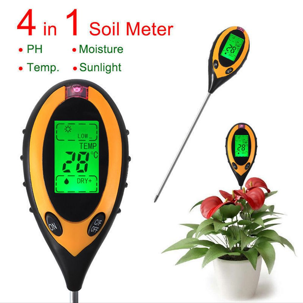 4 In1 Digital PH Meters LCD Temperature <font><b>Sunlight</b></font> PH Garden Soil Moisture Tester for Plants and awns Gauge Meter