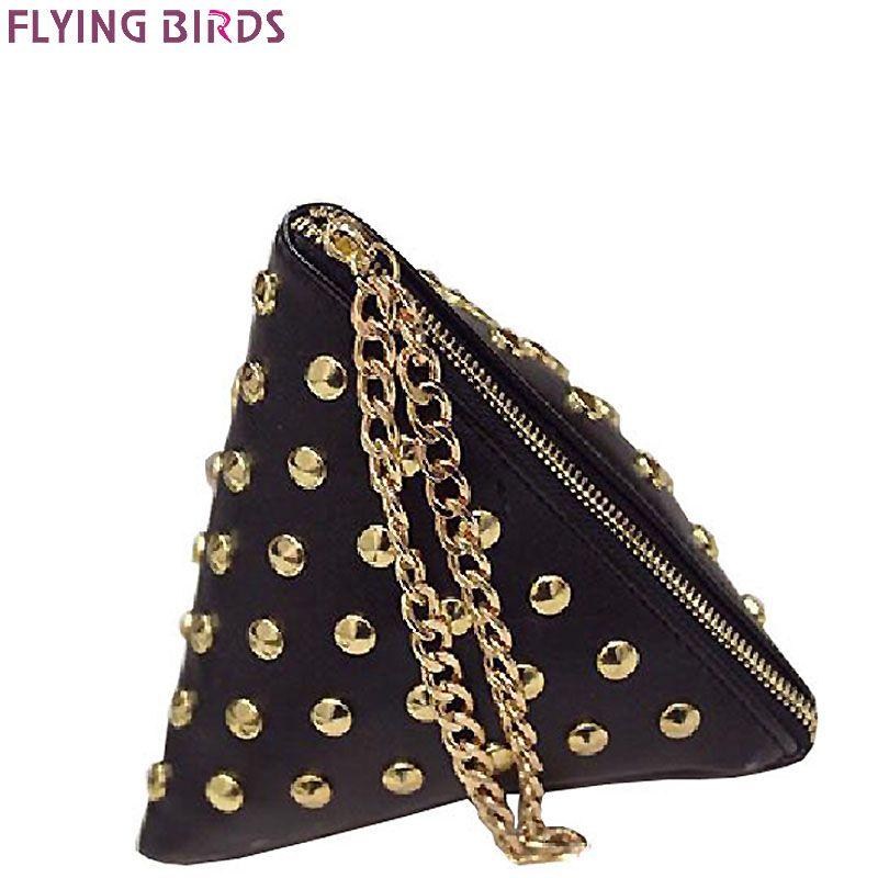 FLYING BIRDS femmes d'embrayage rivet en cuir sacs Triangulaire zipper sac dames sac à main sacs de fête de haute qualité sac à main 2017 LM4361fb