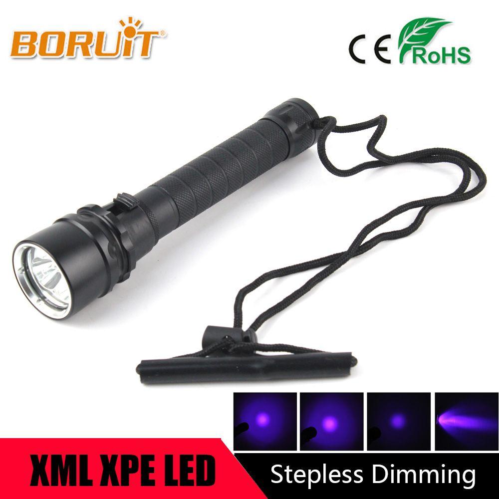 BORUIT 10 w Ultraviolet Lanterne 3000LM 3x XPE Violet Lumière Lampe Flash Sous-Marine 100 m UV Plongée lampe de Poche Torche Pour 18650 batterie