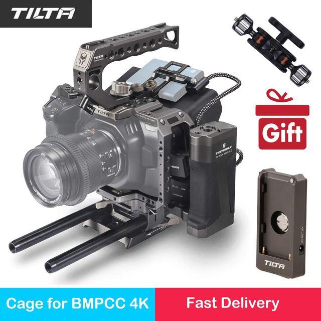 Tilta TA-T01-A-G Volle Kamera Käfig Top Griff Holz Seite Griff F970 Batterie Platte Teil Sonnenschutzes für BMPCC 4 K Kamera zubehör