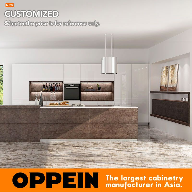 Modern Luxury Wooden Kitchen Cabinet with Natural Sintered Surface Island (OP16-L22)