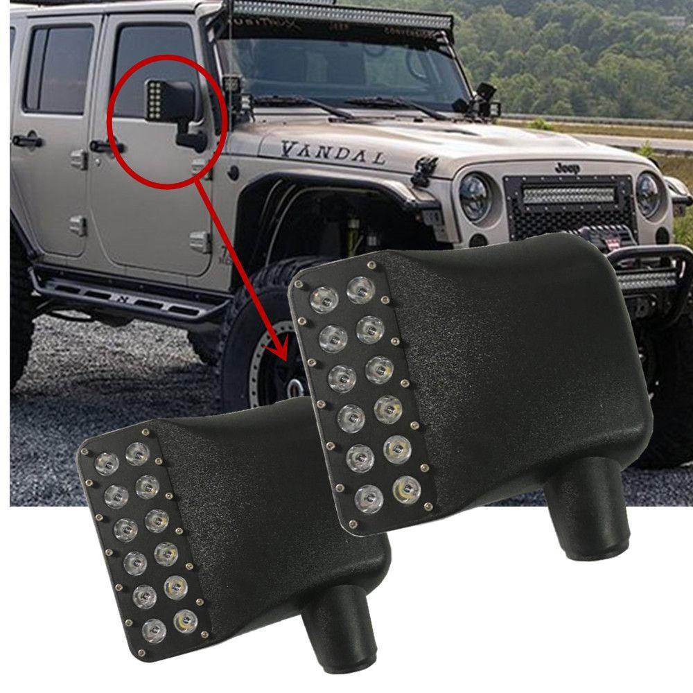 Links + Rechts Seite Spiegel Abdeckungen w/White Spot Leuchtet & Bernstein Blinker Für 2007-2016 Jeep wrangler JK JKU