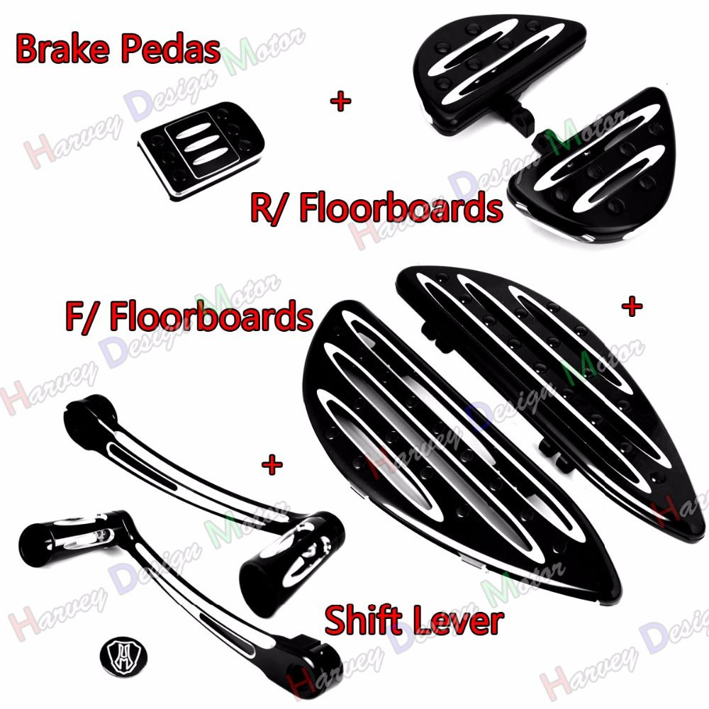 Deep Cut Heel Toe Shift Lever&F&R Driver Floorboard &Pedal For Harley Touring Street Glide Road King FLHX FLHR