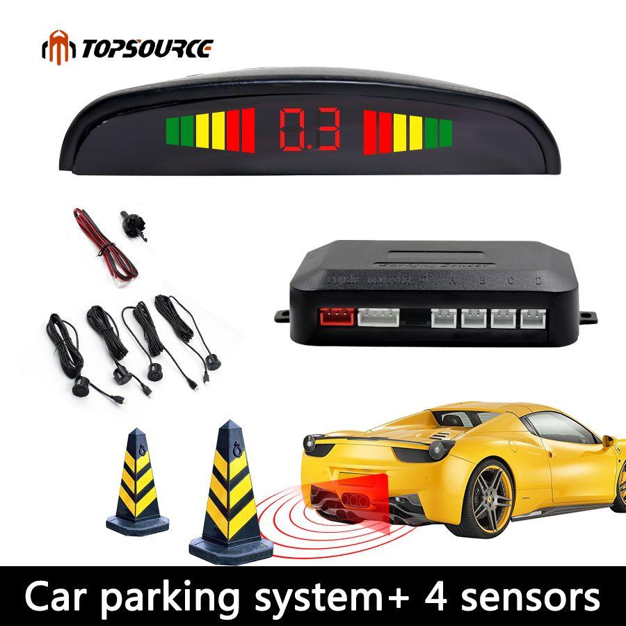Voiture Auto LED Parking Capteur Parktronic Affichage 4 Capteurs Inverse Assistance Sauvegarde Radar Détecteur de Lumière Coeur Moniteur Système