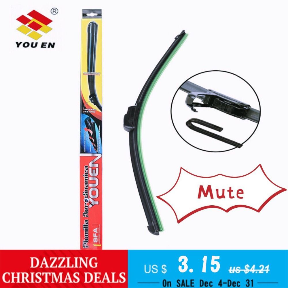 YOUEN 1Pc Car Windshield Wiper Blade Universal U-type Soft Frameless Bracketless 13 14 15 16 17 18 19 20 21 22 23 24 25 26 28