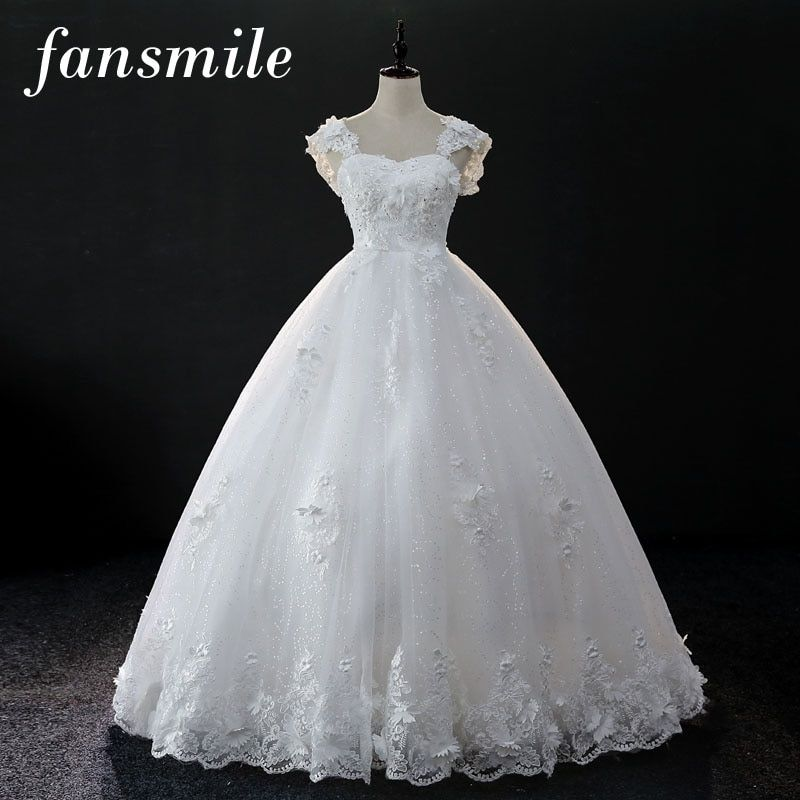 Fansmile Korean Lace Up Ball Gown Pregnant Wedding Dresses 2017 Plus Size Bridal Wedding Dress Real Photo Free Shipping