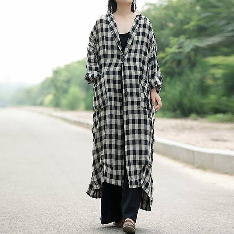 New Fashion Coat Full Sleeve Turn Down Neck Check Plaid Button Down Jacket Women Autumn Winter Split Leisure Casual Long Outwear