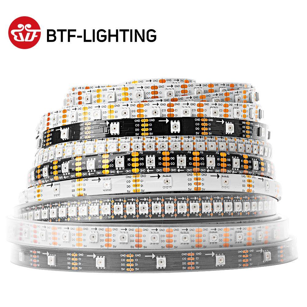 SK9822 (similaire APA102) bande de pixel LED rvb intelligente 1 m/5 m 30/60/144 led/pixels/m données et horloge séparément IP30/IP65/IP67 DC5V