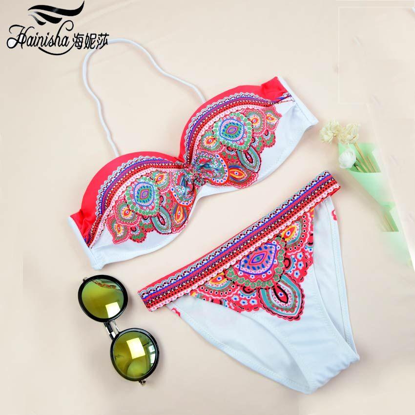 HAINISHA Sexy Bikini Women Swimsuit Push Up Frint Floral Solid Swimwear Mujer Low Waist Bandeau Bikini Set 2018 New Bating Suit