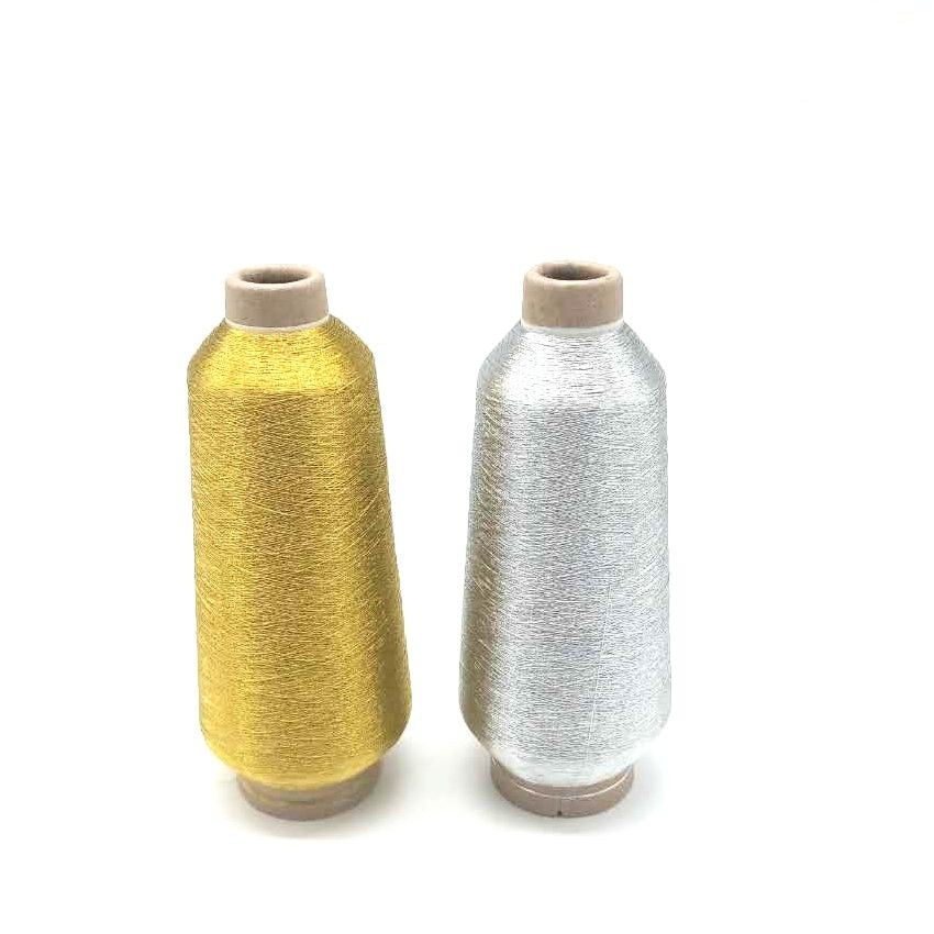 Net weight 125g Golden and Silver Color 150D/2 Metallic Embroidery thread with Paper cone