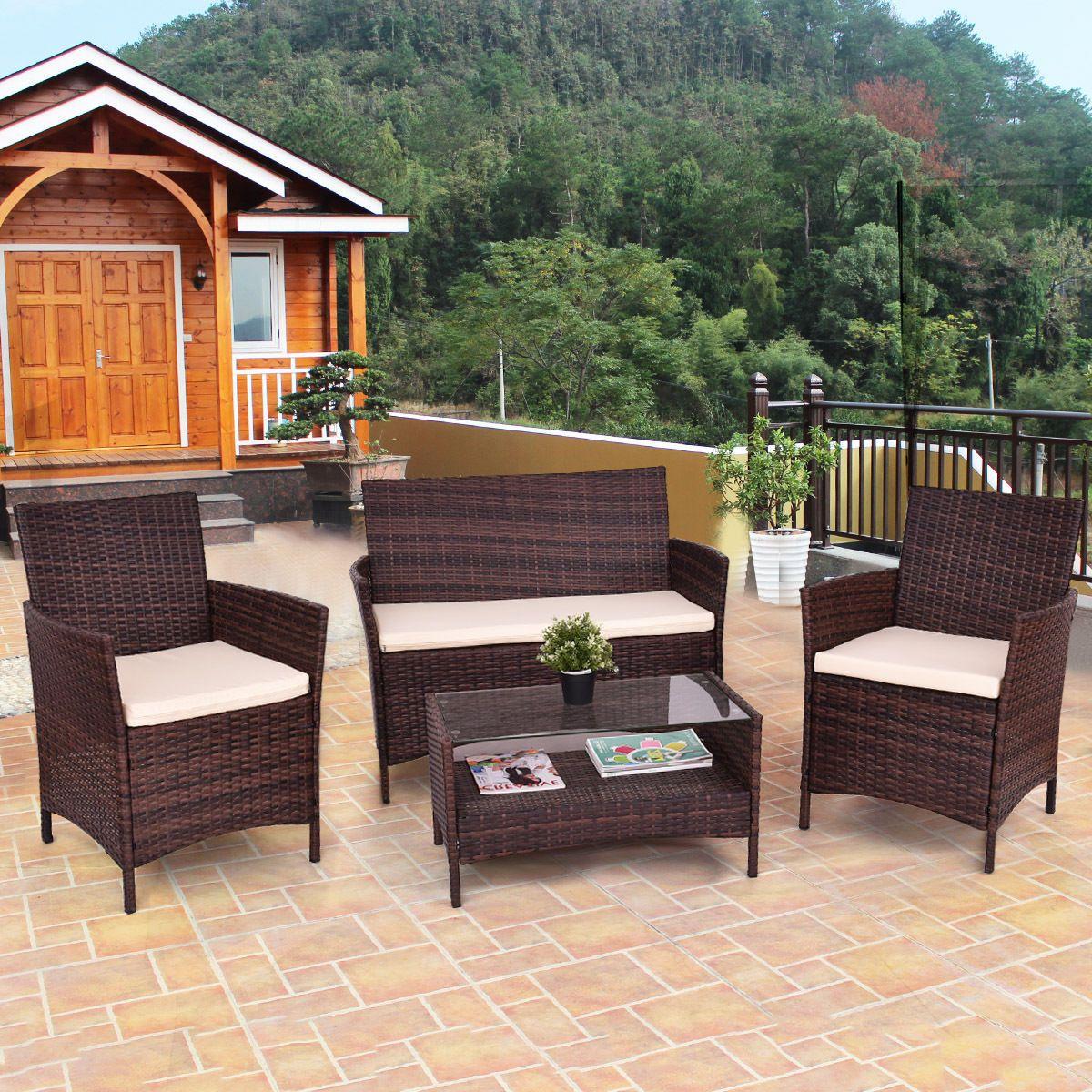 Giantex 4 stücke Terrasse PE Rattan Wicker Kaffee Tisch Regal Moderne Garten Sofa Möbel Set Mit Kissen HW54898