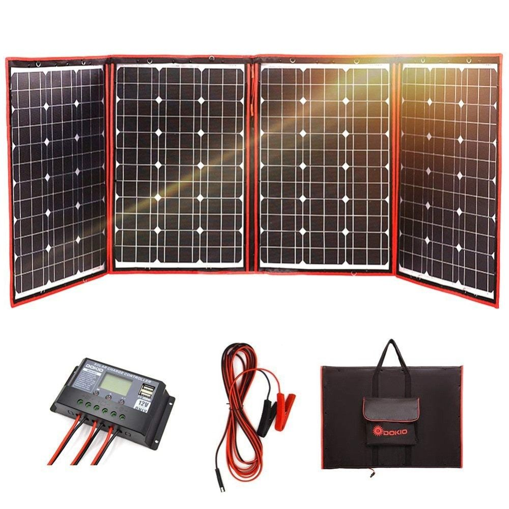 Dokio Black Solar Panels 200W (50Wx4Pc) 18V only China Foldable+12/24V Volt Controller Panels Solar battery charge motorhome