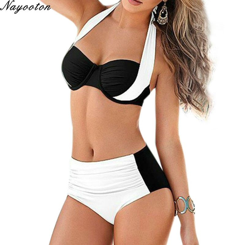 Summer Push Up New Bikini Set Sexy women Halter Swimwear High Waisted Bathing Suits ladies swimming Plus Size Swimsuit XXL