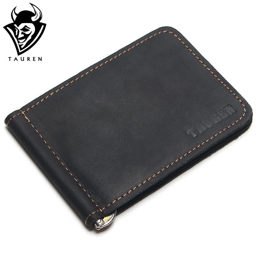 TAUREN 2018 New Men Crazy Horse Dollar Money Clips Card Place Men Black Brown Genuine Leather 2 Folded Open Clamp For Money