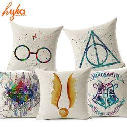 Hyha Harry Potter Coussin En Lin de Coton Coupe de Feu Le Deathly Hallows Décoratifs pour La Maison Taie d'oreiller pour Canapé Cojines