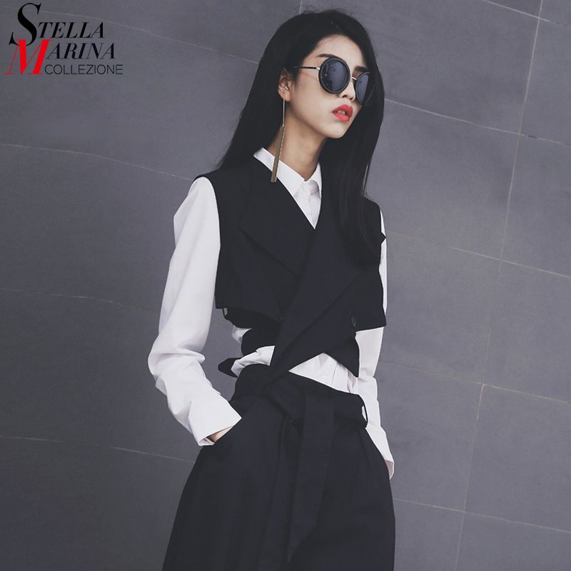 New 2018 European Fashion Women Solid Black Vest Sashes Sleeveless Button Women Unique <font><b>Jacket</b></font> Girls Casual Waistcoat Style 1851