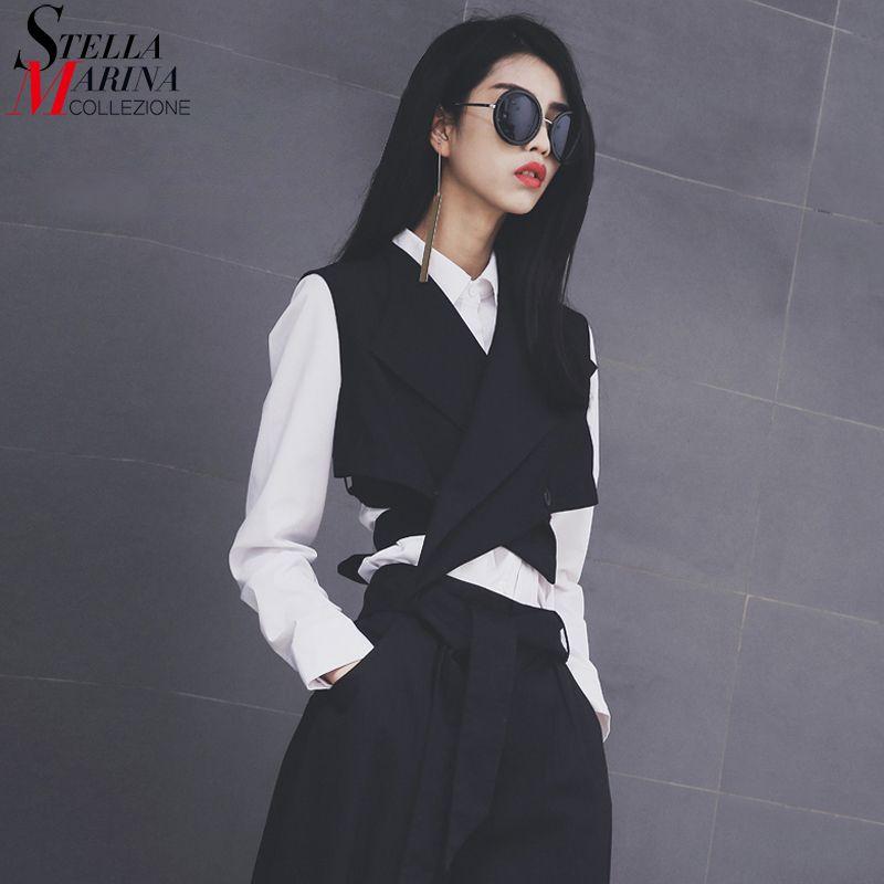 New 2018 European Fashion Women Solid Black Vest Sashes Sleeveless <font><b>Button</b></font> Women Unique Jacket Girls Casual Waistcoat Style 1851