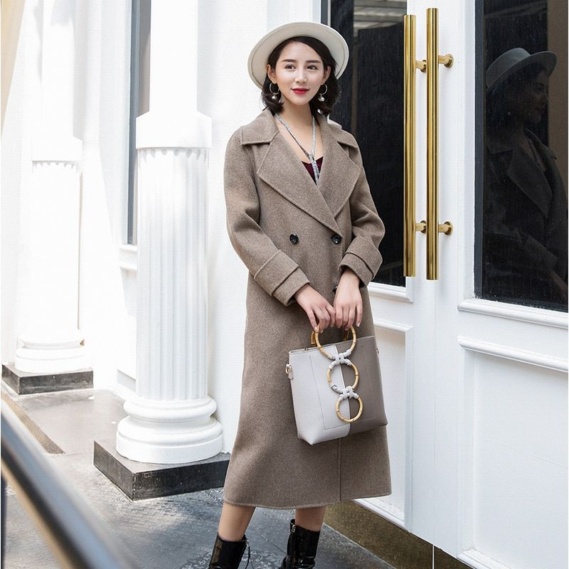 Double-faced cashmere coat female 2018 new women's long section high-end slim autumn and winter woolen coat