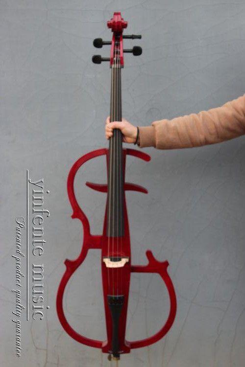 Rot farbe Elektrisches Cello 4/4 massivholz Wunderbaren Klang Schwarz Farbe Yinfente Marke