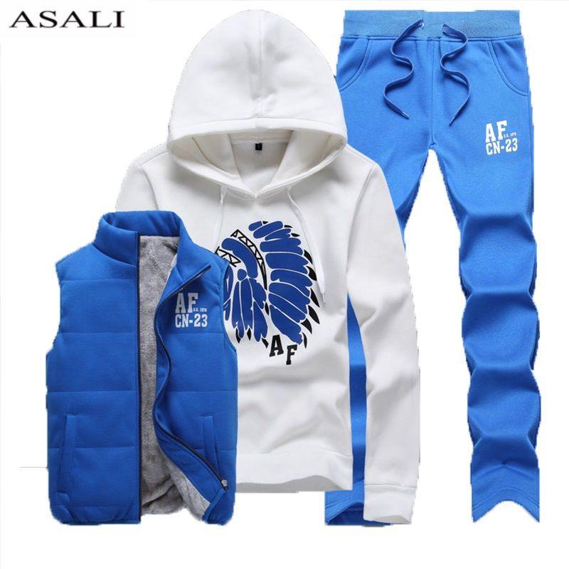 Из трех частей спортивный костюм Для мужчин зимние толстые Флисовые толстовки Для мужчин спортивные костюмы куртка жилет Брюки для девочек...