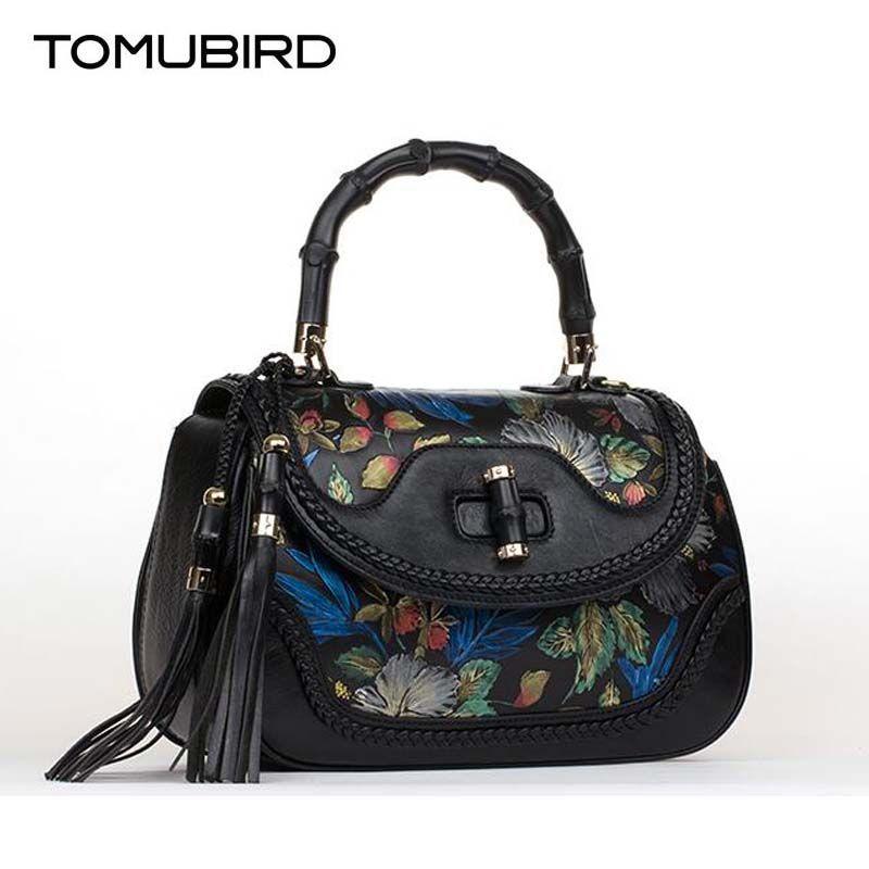Nationalen wind luxus frauen handtasche designer befleckt druck echtes leder tasche mode frauen leder handtaschen schulter tasche