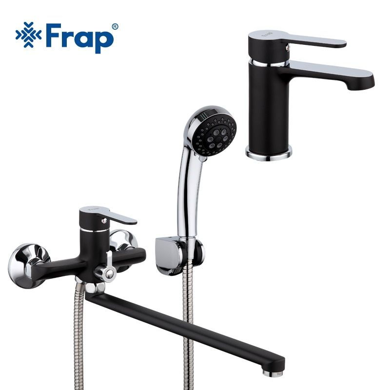 Frap new black 340mm Outlet pipe Bathtub shower faucet with bathroon basin taps set cold and hot water mixer F2242+1042