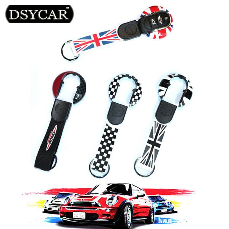 DSYCAR 1Pcs High Quality Car Styling Key Case & Key Ring Chain Set Decoration Union Jack Logo For BMW Mini  2014-2015 F55 F56