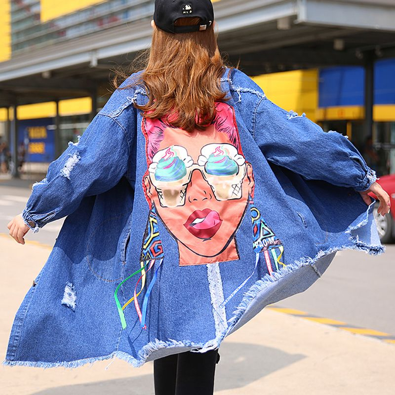 TWOTWINSTYLE Denim Hole Print Feminine Long Trench Coat Female Autumn 2017 Cardigan Lace Up Women's Windbreaker Ripper Clothes