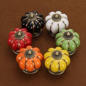 6 Couleurs Vintage Meubles Poignée Porte Boutons Citrouille En Céramique Cabinet Poignées Meubles Tiroir Armoires de Cuisine Poignée de HOT