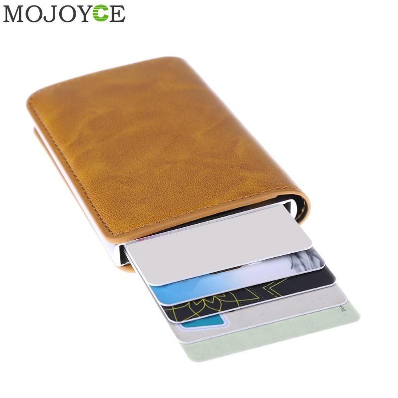 Metal Men Card Holder RFID Stainless Steel Credit Card Holder PU Leather Wallet Antitheft Men Wallets Automatic Pop Up Card Case