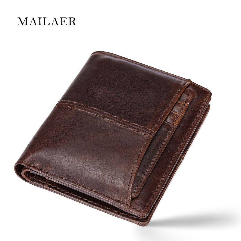 MAILAER Men's wallet short leather wallet folding wallet short section men's leather cowhide wallet vertical money bag 2017 New