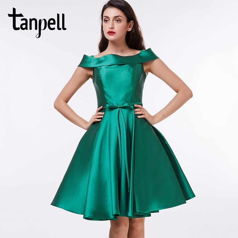 Tanpell off the shoulder cocktail dress dark green knee length a line gown satin draped ladies homecoming short cocktail dresses