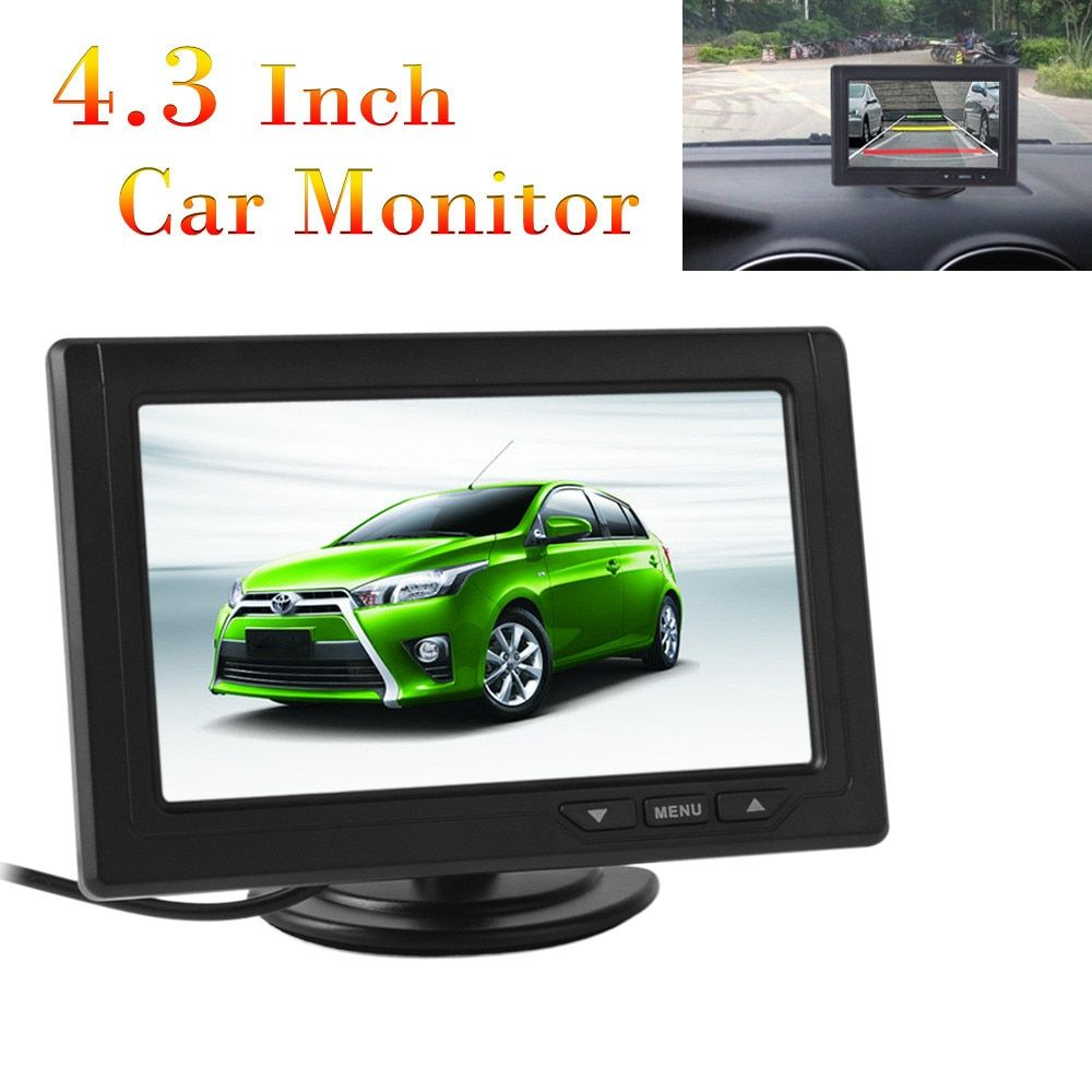 New 4.3 Inch Car Monitor TFT LCD 480 x 272 16:9 Screen 2 Way Video Input For Rear View Backup Reverse Camera
